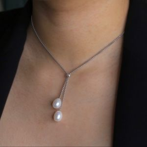 """Freshwater Pearl Necklace Sterling Silver 22"""""""